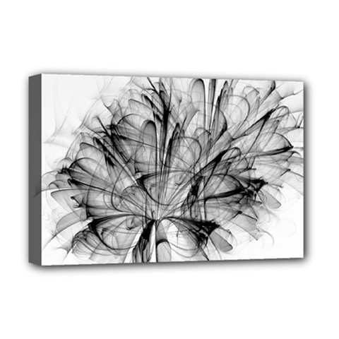 Fractal Black Flower Deluxe Canvas 18  X 12