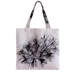 Fractal Black Flower Zipper Grocery Tote Bag