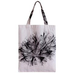 Fractal Black Flower Zipper Classic Tote Bag