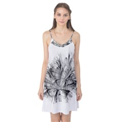 Fractal Black Flower Camis Nightgown