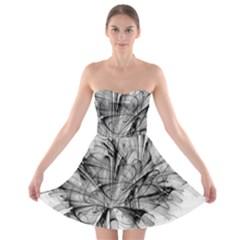 Fractal Black Flower Strapless Bra Top Dress