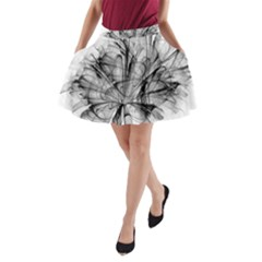 Fractal Black Flower A Line Pocket Skirt
