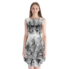 Fractal Black Flower Sleeveless Chiffon Dress