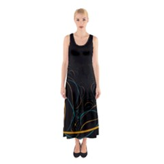 Fractal Lines Sleeveless Maxi Dress