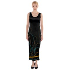 Fractal Lines Fitted Maxi Dress