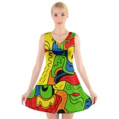 Mexico V-Neck Sleeveless Skater Dress