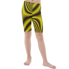 Yellow Fractal Kids  Mid Length Swim Shorts