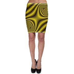 Yellow Fractal Bodycon Skirt