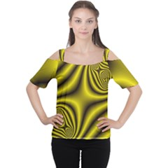 Yellow Fractal Women s Cutout Shoulder Tee
