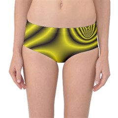 Yellow Fractal Mid-Waist Bikini Bottoms