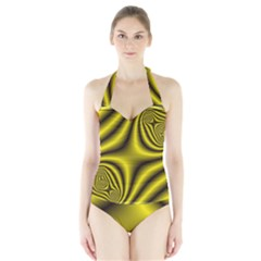 Yellow Fractal Halter Swimsuit