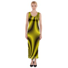 Yellow Fractal Fitted Maxi Dress