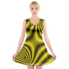 Yellow Fractal V Neck Sleeveless Skater Dress