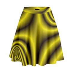 Yellow Fractal High Waist Skirt