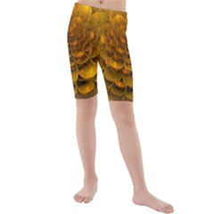 Yellow Flower Kids  Mid Length Swim Shorts