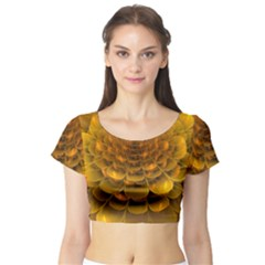 Yellow Flower Short Sleeve Crop Top (Tight Fit)