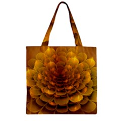 Yellow Flower Zipper Grocery Tote Bag