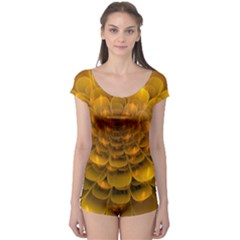 Yellow Flower Boyleg Leotard