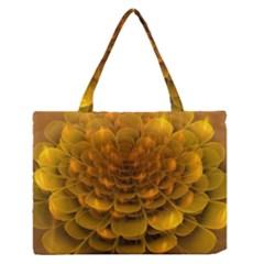 Yellow Flower Medium Zipper Tote Bag