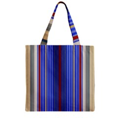 Colorful Stripes Zipper Grocery Tote Bag