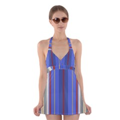 Colorful Stripes Halter Swimsuit Dress