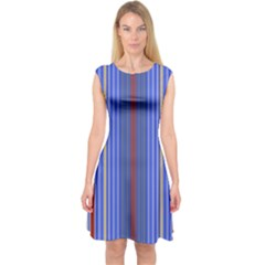 Colorful Stripes Capsleeve Midi Dress