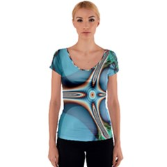 Fractal Beauty Women s V-Neck Cap Sleeve Top