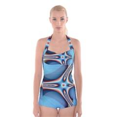 Fractal Beauty Boyleg Halter Swimsuit