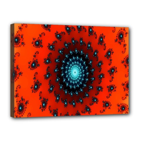 Red Fractal Spiral Canvas 16  X 12
