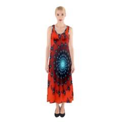 Red Fractal Spiral Sleeveless Maxi Dress