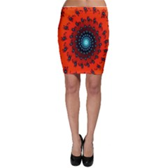 Red Fractal Spiral Bodycon Skirt