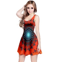 Red Fractal Spiral Reversible Sleeveless Dress