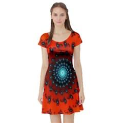 Red Fractal Spiral Short Sleeve Skater Dress