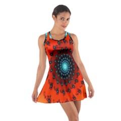 Red Fractal Spiral Cotton Racerback Dress