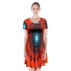 Red Fractal Spiral Short Sleeve V Neck Flare Dress