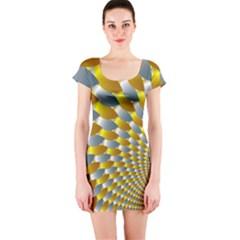 Fractal Spiral Short Sleeve Bodycon Dress