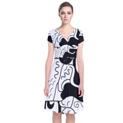 Mexico Short Sleeve Front Wrap Dress