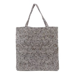 Silver Tropical Print Grocery Tote Bag