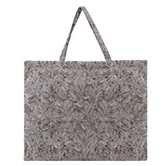 Silver Tropical Print Zipper Large Tote Bag
