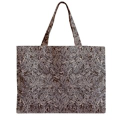 Silver Tropical Print Medium Zipper Tote Bag