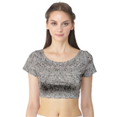 Silver Tropical Print Short Sleeve Crop Top (Tight Fit)