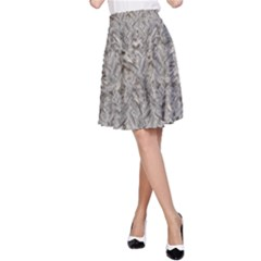 Silver Tropical Print A-Line Skirt