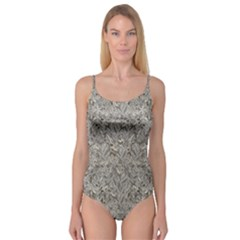 Silver Tropical Print Camisole Leotard