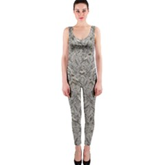 Silver Tropical Print OnePiece Catsuit