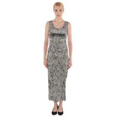 Silver Tropical Print Fitted Maxi Dress