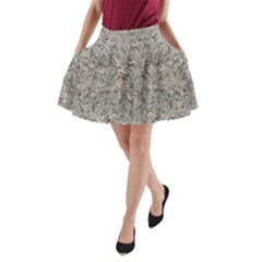 Silver Tropical Print A-Line Pocket Skirt
