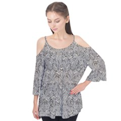 Silver Tropical Print Flutter Tees