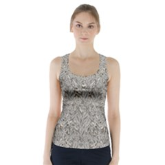 Silver Tropical Print Racer Back Sports Top
