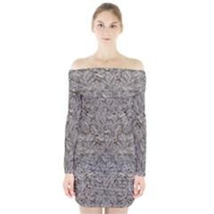 Silver Tropical Print Long Sleeve Off Shoulder Dress