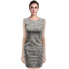 Silver Tropical Print Sleeveless Velvet Midi Dress